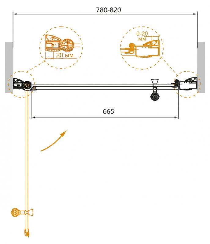 Душевая дверь в нишу Cezares Giubileo B 11 80 CP Cr L купить смеситель для кухни на маркете